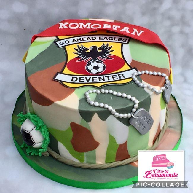 Legert taart versus Go Ahead Eagles taart. Met en camouflage fondant afwerking en handgemaakte tags van fondant.