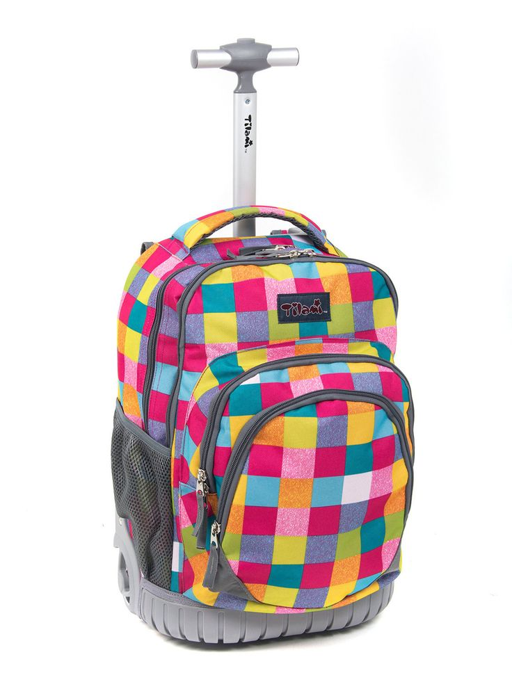 TilamiR Large Storage Luggage Bottom Fenders 18 Inch Red Check Rolling Bag Book Backpack