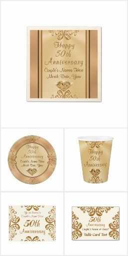 Gorgeous Golden Personalized 50th Anniversary Party Ideas. CLICK HERE to see this Collection of 50th Anniversary Party Supplies or * Link Below for ALL 50th Anniversary Gifts: CLICK: http://www.zazzle.com/collections/50th_anniversary_party_ideas-119264753396758678  ALL our Golden Wedding Anniversary Party Supplies, 50th Anniversary Presents HERE: http://www.zazzle.com/littlelindapinda/gifts?cg=196114898786828958&rf=238147997806552929 CALL Zazzle Designer Linda for HELP or CHANGES…