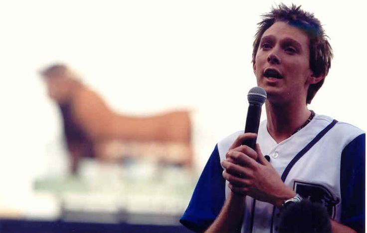 Raleigh native Clay Aiken sings the National Anthem at the DBAP