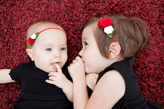 Red and White Felt Flower Headbands for Big and Little Sister- Coordinate for Holiday Pictures