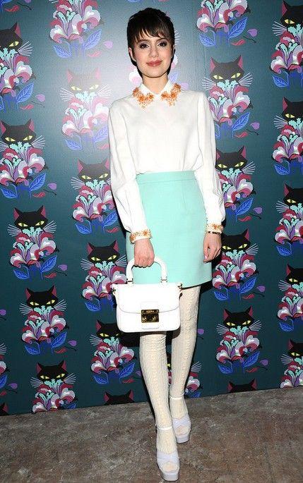 @roressclothes clothing ideas #women fashion white top, cyan skirt. Sami Gayle in Miu Miu