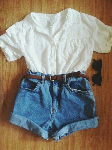 Kot şort + beyaz gömlek + ray ban