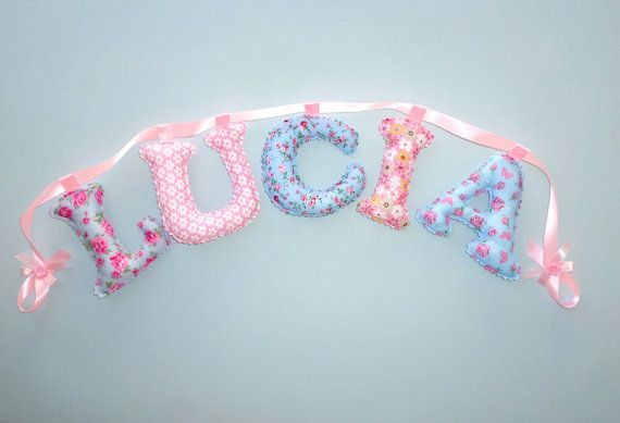 Shabby Chic Fabric letter name banner girl's by LittleFairyCottage