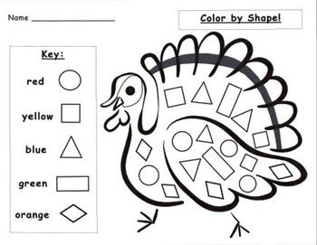 One turkey pattern block picture template open to many uses. Match pattern blocks and color or use spinners to fill in corresponding shapes as a partner game at math centers.Another turkey pattern block game open to spinners or dice for matching shapes.