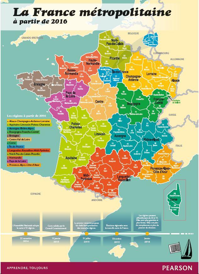 La France métropolitaine à partir de 2016