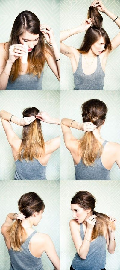 Messy side ponytail - if hair is oily, use a French dry shampoo to build body and texture.