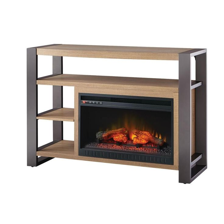 Media Console Infrared Modern Electric Fireplace In Medium Ash Finish