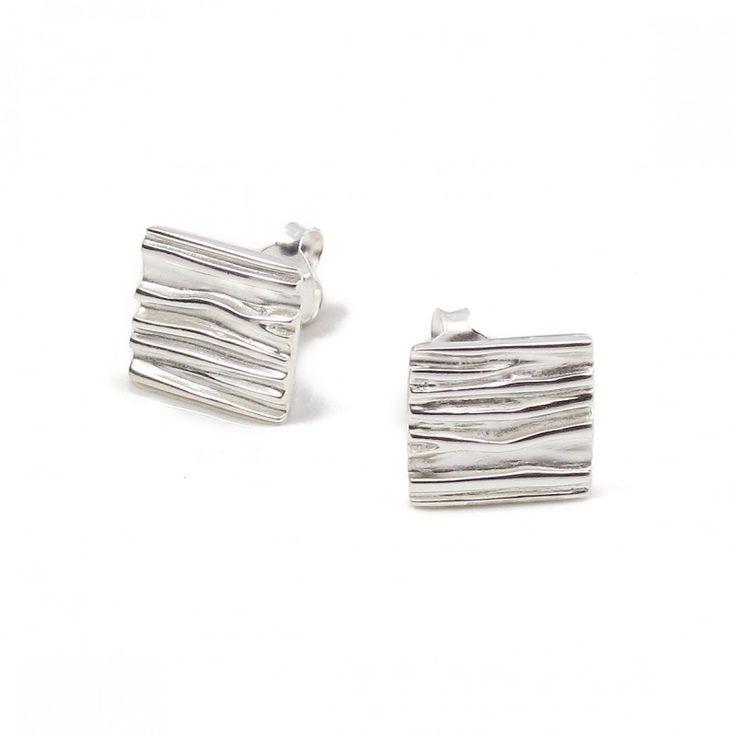 Cercei argint Vinani pătrățele creponate