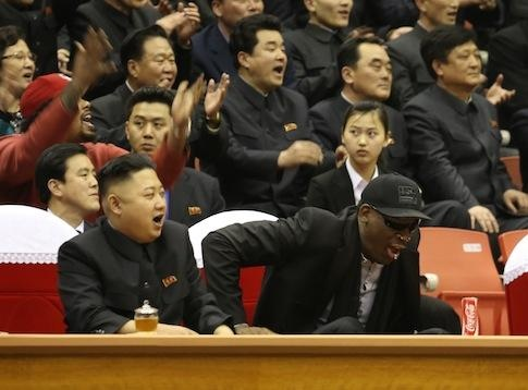Kim Jong Un and Dennis Rodman having fun.