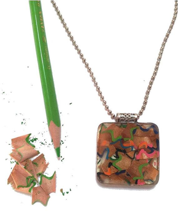 Resin jewelry ,Upcycled jewelry, resin necklace ,pencil shavings  pendant, , Recycled charm,teacher gift ideas,free shipping