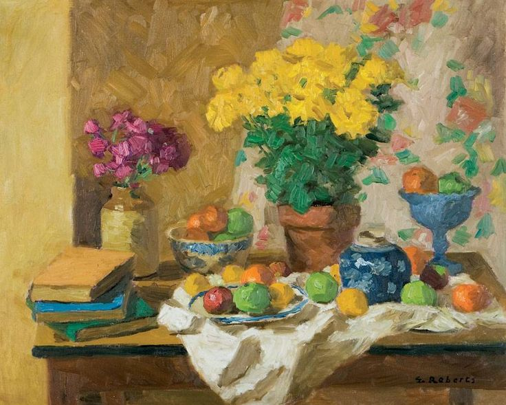 'Still Life with Yellow Asters', 1955, oil on canvas by William Goodridge Roberts at Mayberry Fine Art