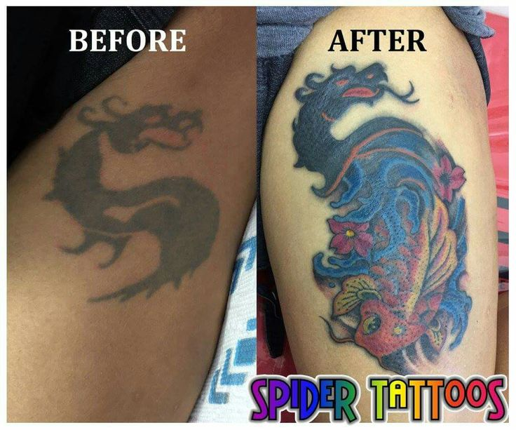BEFORE AND AFTER  TATTOO COVER UP  Cover up existing tattoo with Koi and Dragon #tattoocoverup #tattoo #tattoosbyspider #needlesink #spidertattoostudio #koitattoo #dragontattoo #mortalcombattattoo