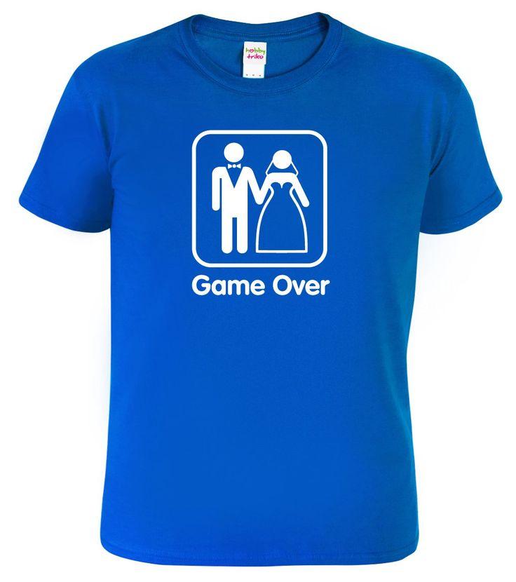 """Vtipné svatební tričko pro ženicha s nápisem Game Over. Nabízíme do série s ostatními produkty v sekci """"související zboží"""