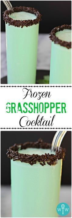 Frozen Grasshopper Cocktail – A rich, chocolaty, minty, smooth frozen cocktail recipe that's more like a decadent dessert than a drink. Indulge! | www.worthwhisking.com