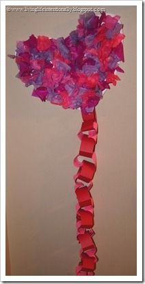 Valentine's Day COUNTDOWN - textured tissue paper heart craft PLUS heart link scripture countdown.