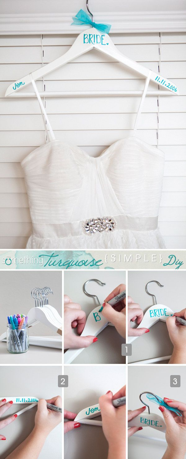 Use a Sharpie to customize Bumerang hangers to hang the bridal party's dresses on. | 25 Ikea Hacks That Will Save You So Much Money On Your Wedding