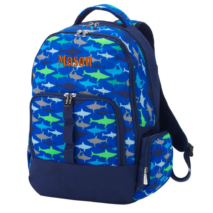 Personalized Shark Backpack Navy Blue & Green