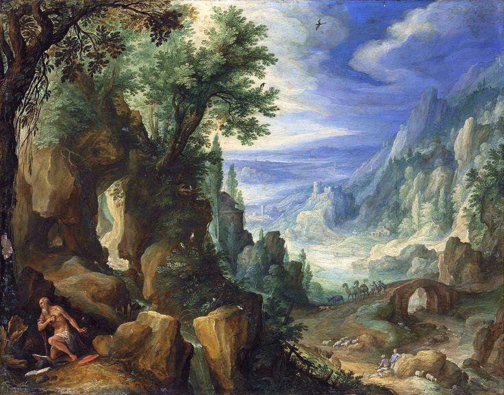 Landschap met de bekering van de heilige Hiëronymus ~ 1592 ~ Olieverf op koper overgebracht op doek ~ 25,7 x 32,8 cm ~ Koninklijk Kabinet van Schilderijen Mauritshuis, Den Haag