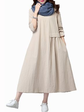 Gracila Vintage Women Loose Long Sleeve Pleated Pure Color Long Maxi Dresses