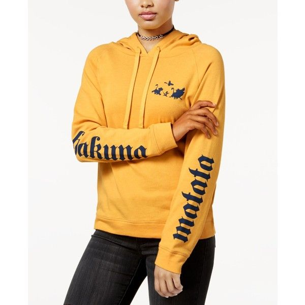 Disney Juniors' Hakuna Matata Graphic Hoodie (€29) ❤ liked on Polyvore featuring tops, hoodies, mustard, hooded pullover, yellow hoodie, graphic hoodie, sleeve hoodie and yellow top