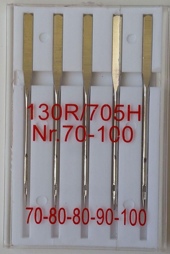 50 Nähmaschinennadeln Sortiment Stärken 70-100  geschliffener Kolben 130/705H