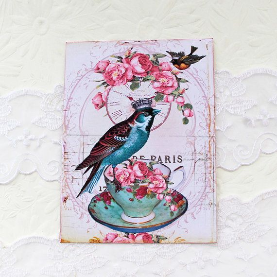 Bird Note Cards Crown Vintage Teacup Birthday by EnchantedQuilling