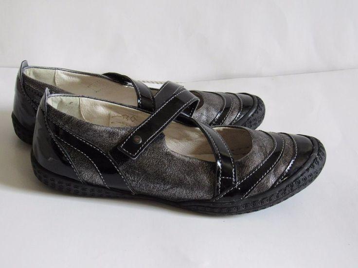 Primigi Girls Ballet Flats Size 34 US 3M Pewter Metallic Black Leather GRUC #Primigi #Flats #Casual