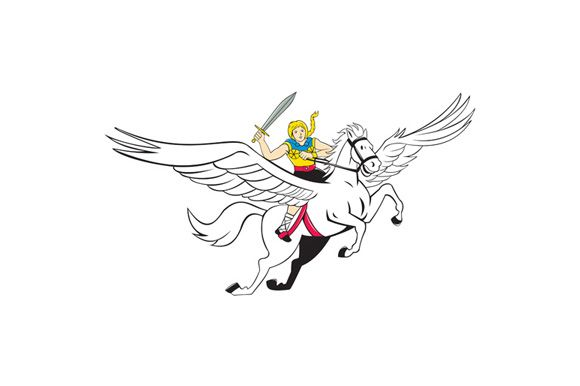 Illustration of a valkyrie of Norse mythology female rider Amazon warriors riding horse with sword done in cartoon style on isolated white background. The zipped file includes editable