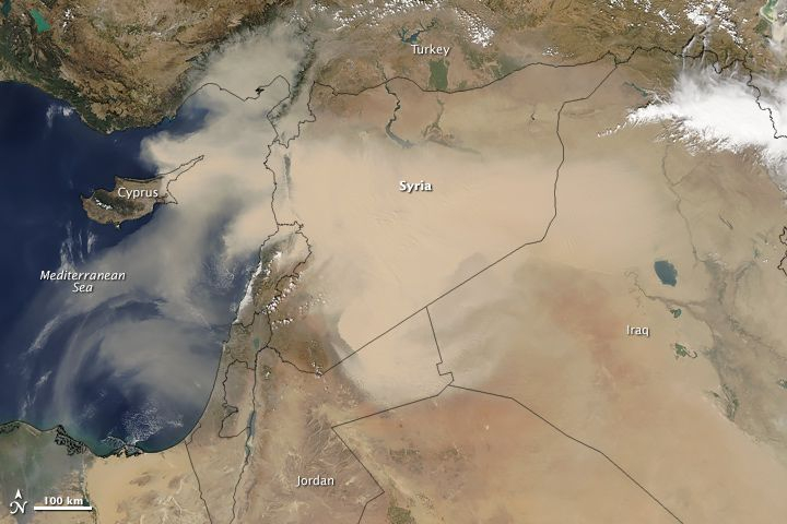 Dust Storm Sweeps Across Middle East  Satellites often observe dust swirling over remote and unpopulated deserts but most of these events go largely unnoticed. Not so with the major dust storm that made international news in September 2015 for enveloping heavily-populated areas in the Middle East and North Africa.