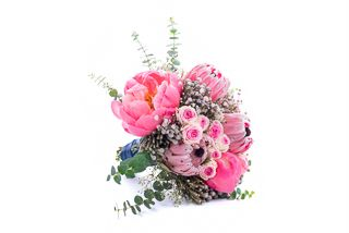 Pink wedding bouquet with spray roses, peonies and protea by Atelier Floristic Aleksandra concept Alexandra Crisan