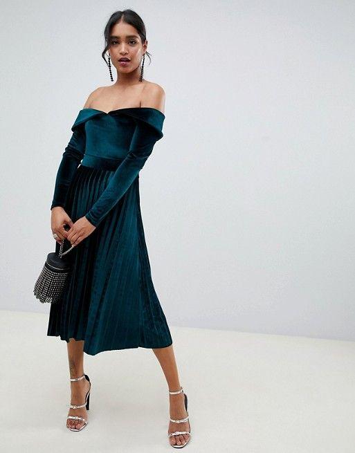 ef97632a6ed34 DESIGN pleated velvet bardot midi dress in 2019