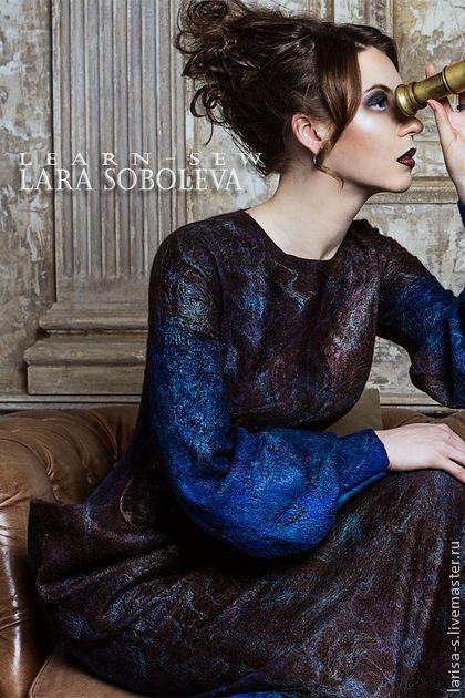 Валяное платье Diti - коричневый,абстрактный,готика,готическое платье