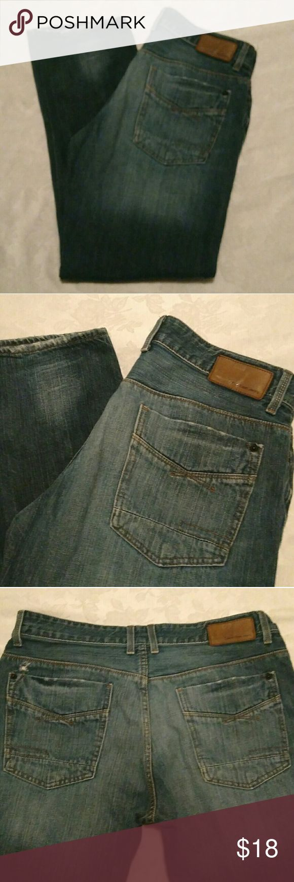 """Calvin Klein Blue Jeans 34 Button Fly Medium Dark Blue Denim Jean Calvin Klein Slim, Straight Leg Style Factory Distressed Look Button Fly Good Condition Some Wear on Bottom Hems Hole Above Left Back Pocket (Pictured) Size 34, 30"""" Inseam Thank You For Looking Calvin Klein Jeans Jeans Slim Straight"""