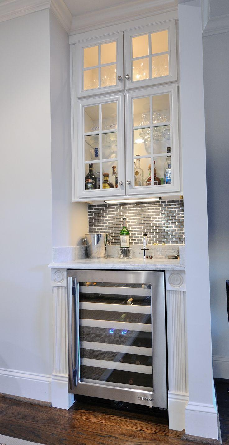 Wine Fridge - Pearl Gray Marble Wet Bar by Atlanta Kitchen, Tile Backsplash by Atlanta Marble Mfg