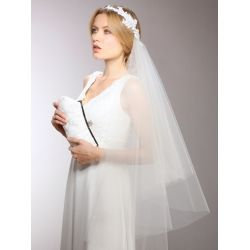 Bridal Veil 1-sided with White Lace Garland Headband