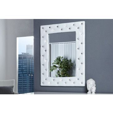 Miroir mural simili cuir blanc capitonné de strass pas cher - Comforium.com