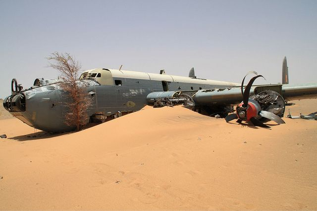 This Avro Shackleton of the South African Air Force was restored to flight in 1994. But it crashed later that year while transiting to the UK. The aircraft, SAAF 1716, call sign Pelican 16, was forced to make an emergency landing after suffering a double engine failure. Nobody was injured in the crash, but the aircraft was abandoned in the Sahara Desert. Sister aircraft 'Pelican 22', owned by the South African Air Force Museum, is the only remaining airworthy Shackleton MR3 in the world.