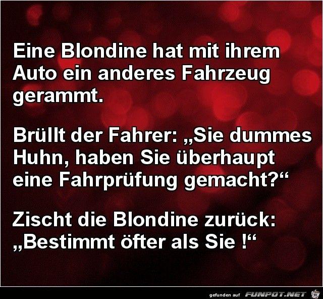 lustiges Bild 'Blondine hat nen Unfall.......jpg'- Eine von 25529 Dateien in der Kategorie 'klasse Sprüche und Witze' auf FUNPOT.