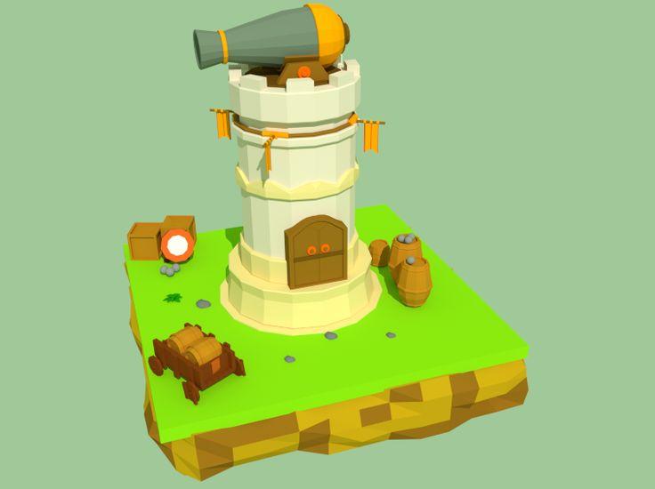 #LowPoly cannon castle