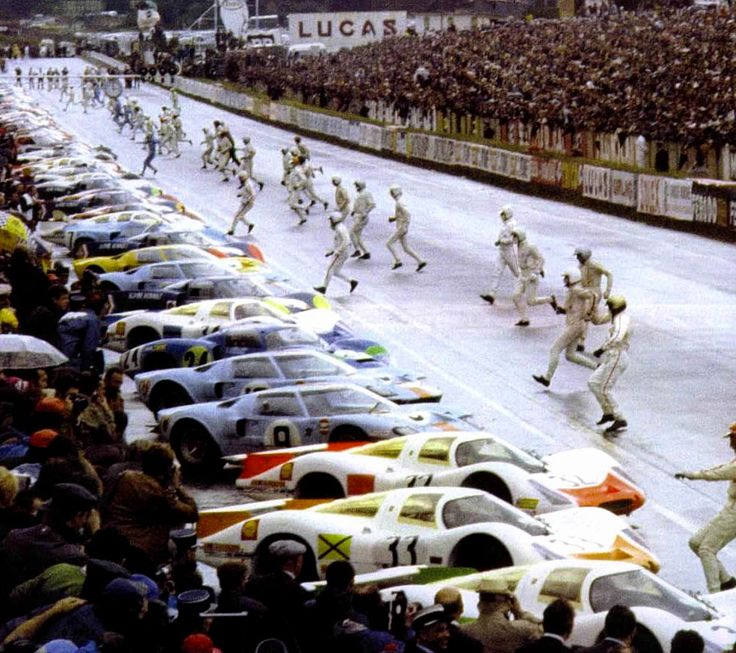 "Le Mans '69; the end of the era of the ""Running"" Start. From 1970, drivers were strapped in!"
