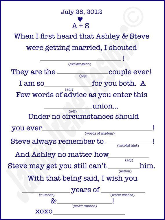 Printable Wedding Mad Lib A Fun Guest Book by WeddingsByJamie