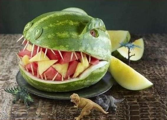 Dinosaur watermelon    Where's the watermelon, son?