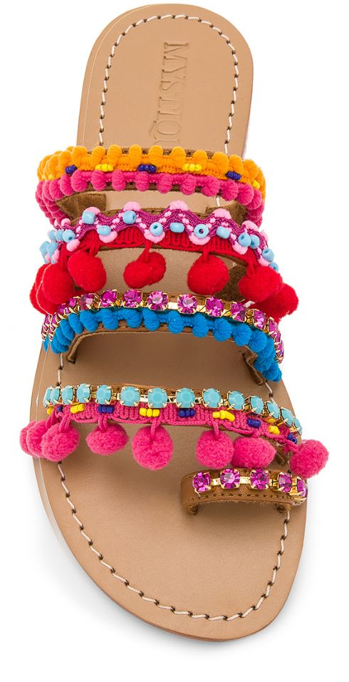 love this pom detail sandal