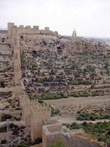 Almería - view from Alcazaba - Murallas de Jayrán - the walls were built to enlarge the city's defences in the 11th century. They run all the way to the 'Cerro de San Cristóbal' — the hill of Saint Christopher.  (photo: Robert Bovington)