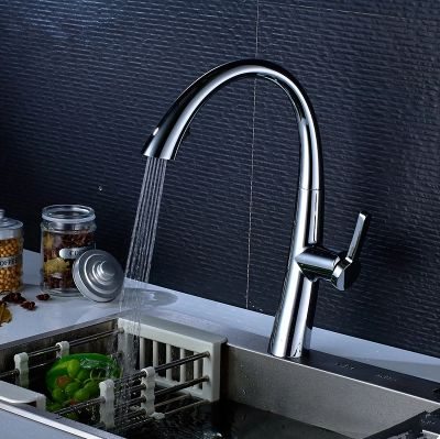 Chrome Rotatable Single Handle Pull Out Kitchen Sink Tap TA283C