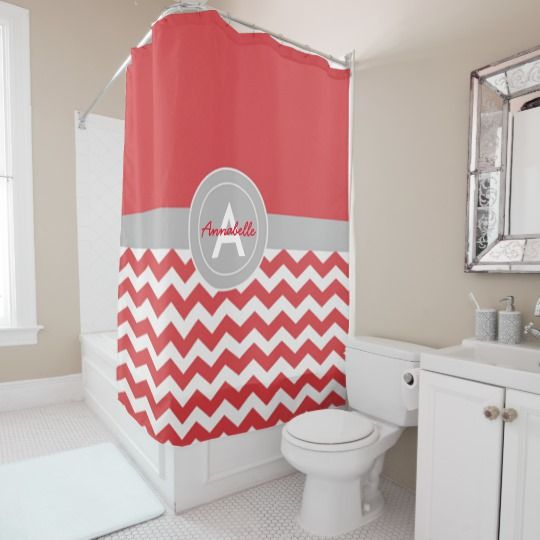 Red Gray Chevron Shower Curtain