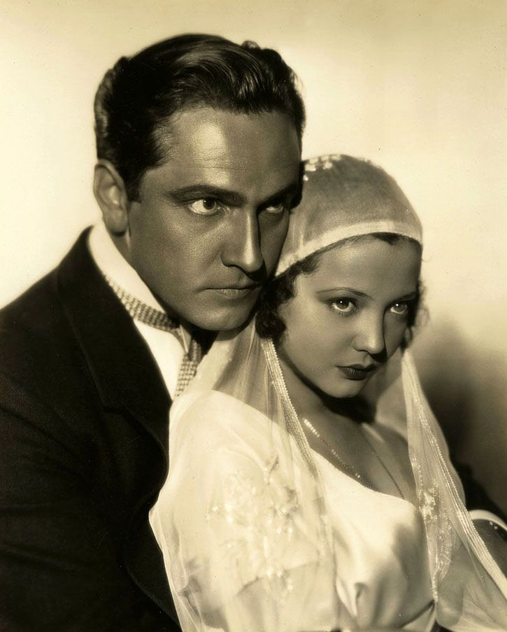 """valentinovamp:  """"Sylvia Sidney & Fredric March in a publicity shot for """"Merrily We Go to Hell"""" (1932)  """""""