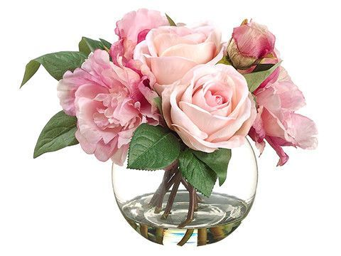 """Rose/Peony 9"""" in Glass Vase Pink Mauve"""