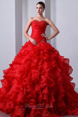 Red Beading Ruffles Brush Train Sweet 16 Dress